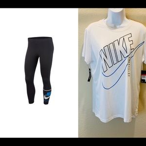 Nike Women's White Tee And Tights Sz.L